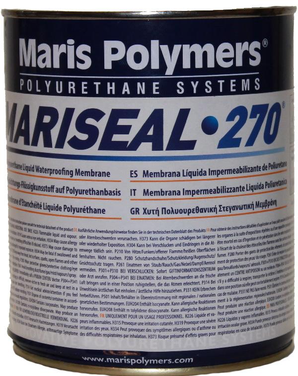 Полиуретановая гидроизоляция мастика Марисил 270 для пола влажных помещений под плику ( в ванных, на кухне, балконе и т.д.)