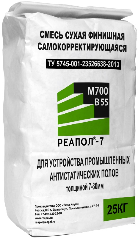 Реал Хоум Самовыравнивающий промышленный наливной пол РЕАПОЛ 7, слой 3-8 мм 25кг